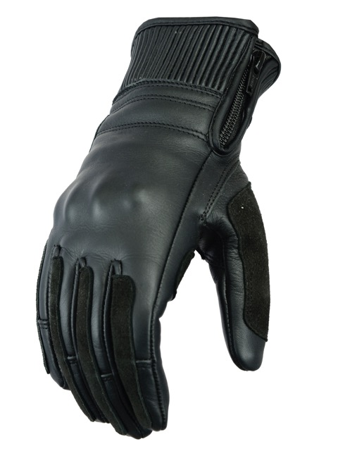 Texpeed Womens Black Leather Cruiser Gloves