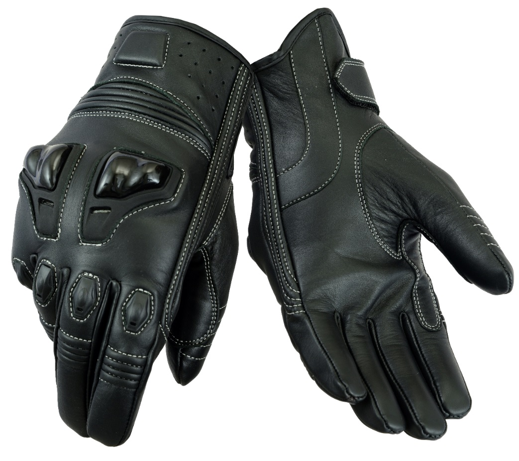 CLEARANCE Texpeed Mens Black Short Cuff 4K Motorcycle / Motorbike Gloves