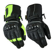 Waterproof Leather Motorbike Motorcycle Gloves Textile Black CE Armoured Biker