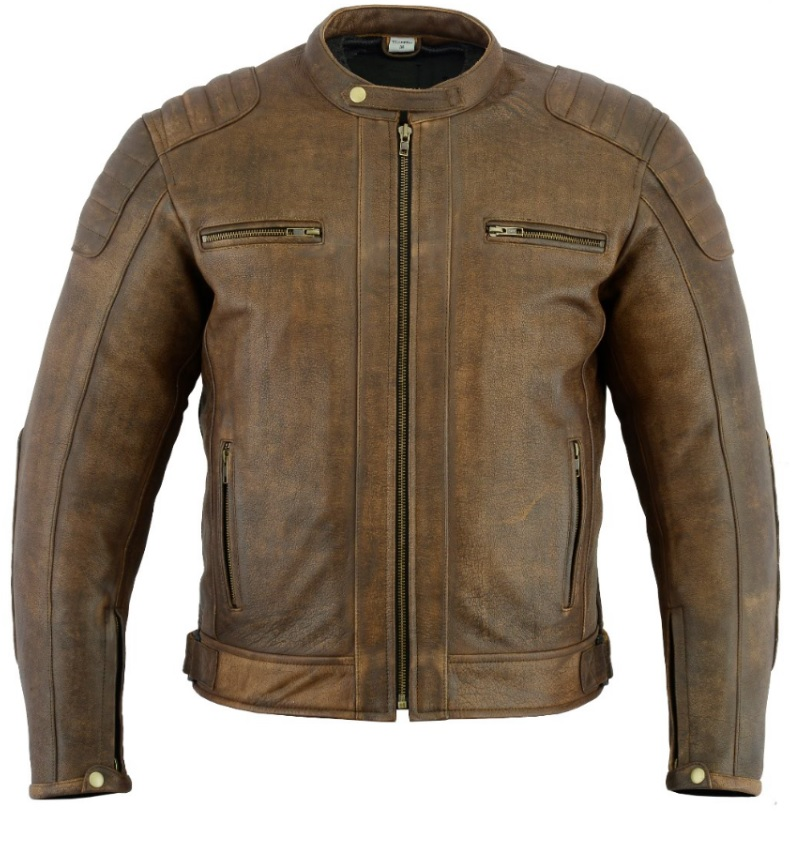 Texpeed Distressed Brown Short Leather Jacket