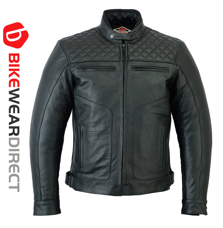 Texpeed Diamond Black Stitched Leather Jacket