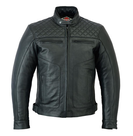 Leather Motorbike Motorcycle Jacket Diamond Stitched Biker With CE Armour