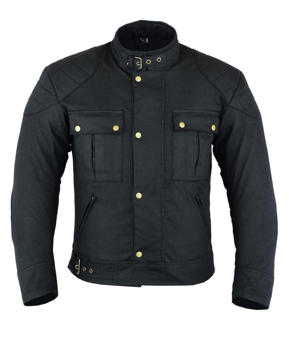 Waterproof Motorbike Motorcycle Jacket Waxed Rain Cotton Biker CE Armour Protect