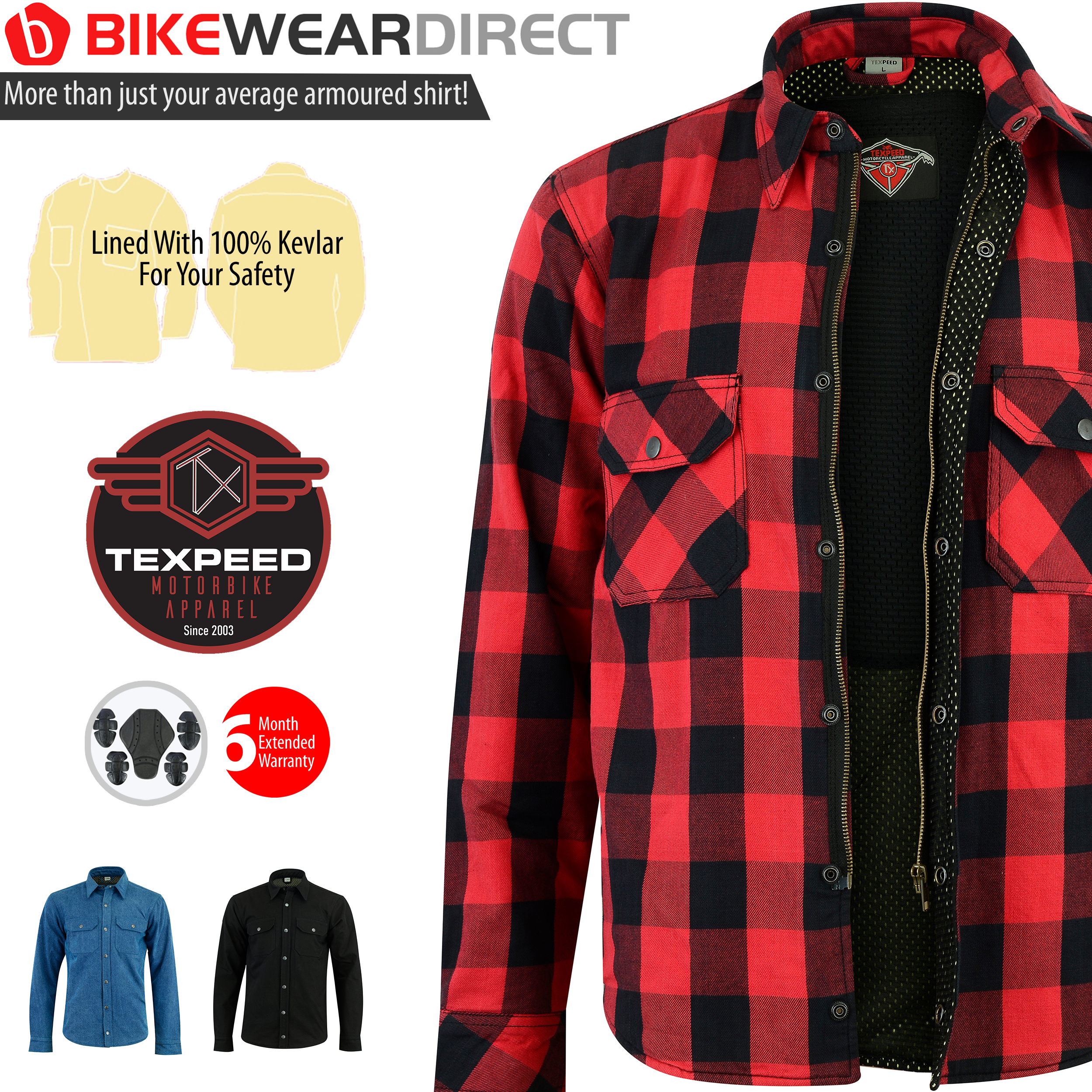 3 Colours Mens Texpeed Kevlar Lined//Armoured Motorcycle//Motorbike Shirt