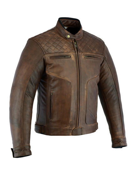 Leather Motorbike Motorcycle Jacket Diamond Stitched Biker Brown With CE Armour