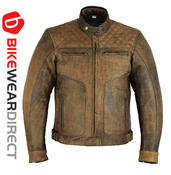 Texpeed Diamond Brown Stitched Leather Jacket