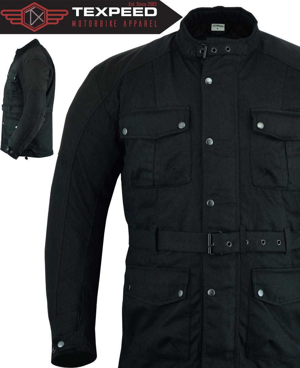 Texpeed Cordura & Wax Coated Black Motorcycle Jacket