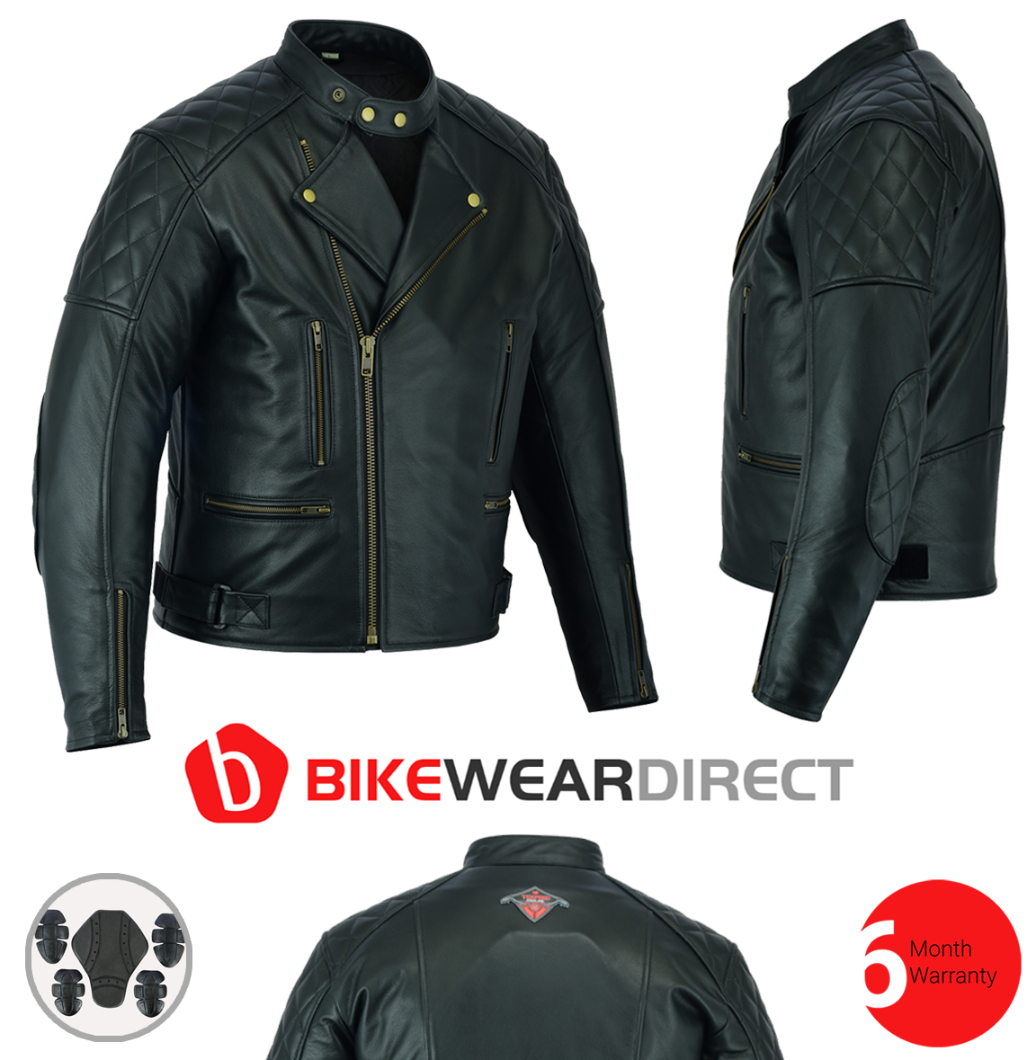 Texpeed Diamond Stitched Brando Leather Jacket