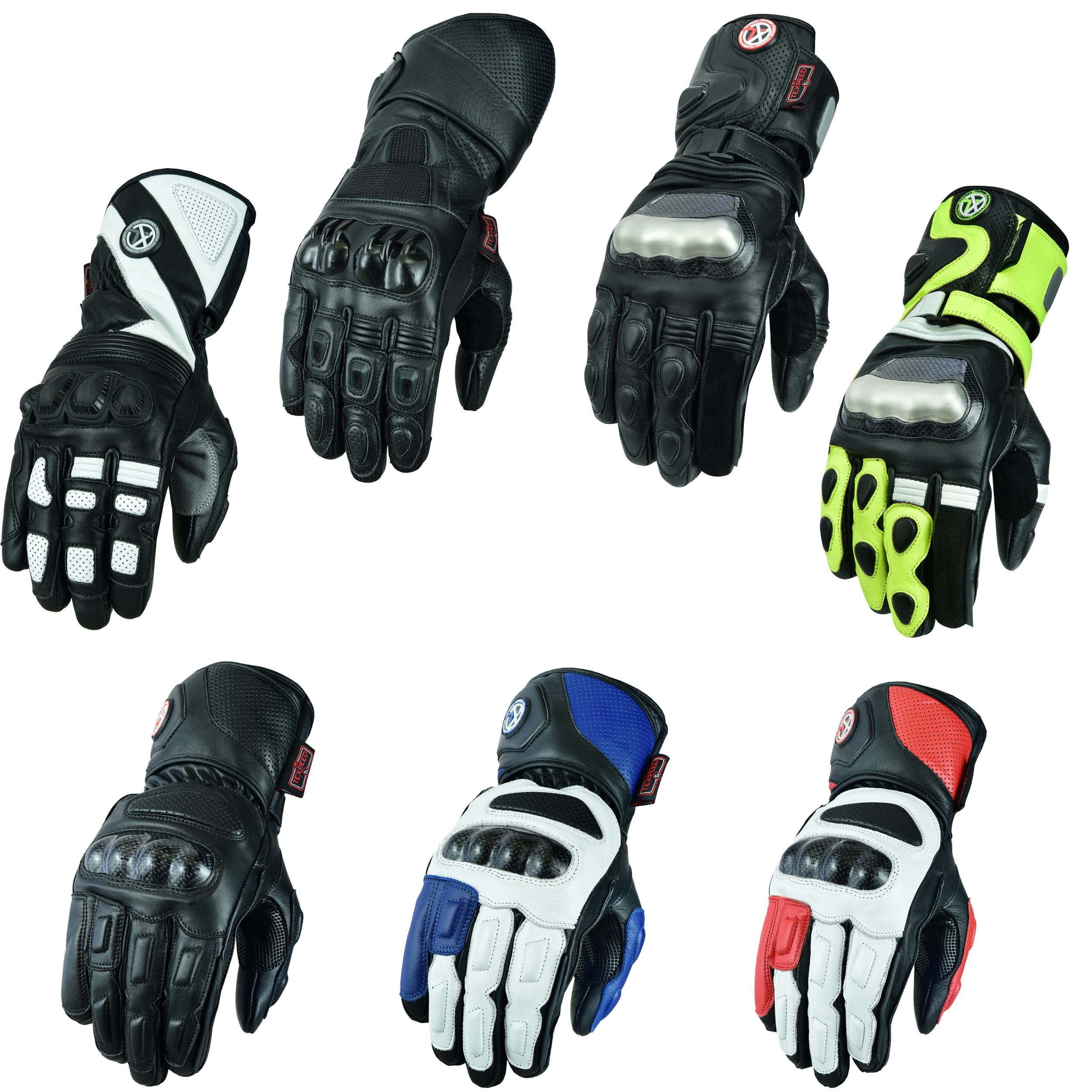 All Sizes Mens Texpeed Black Leather Motorcycle//Motorbike Gloves Collection 8 Colours