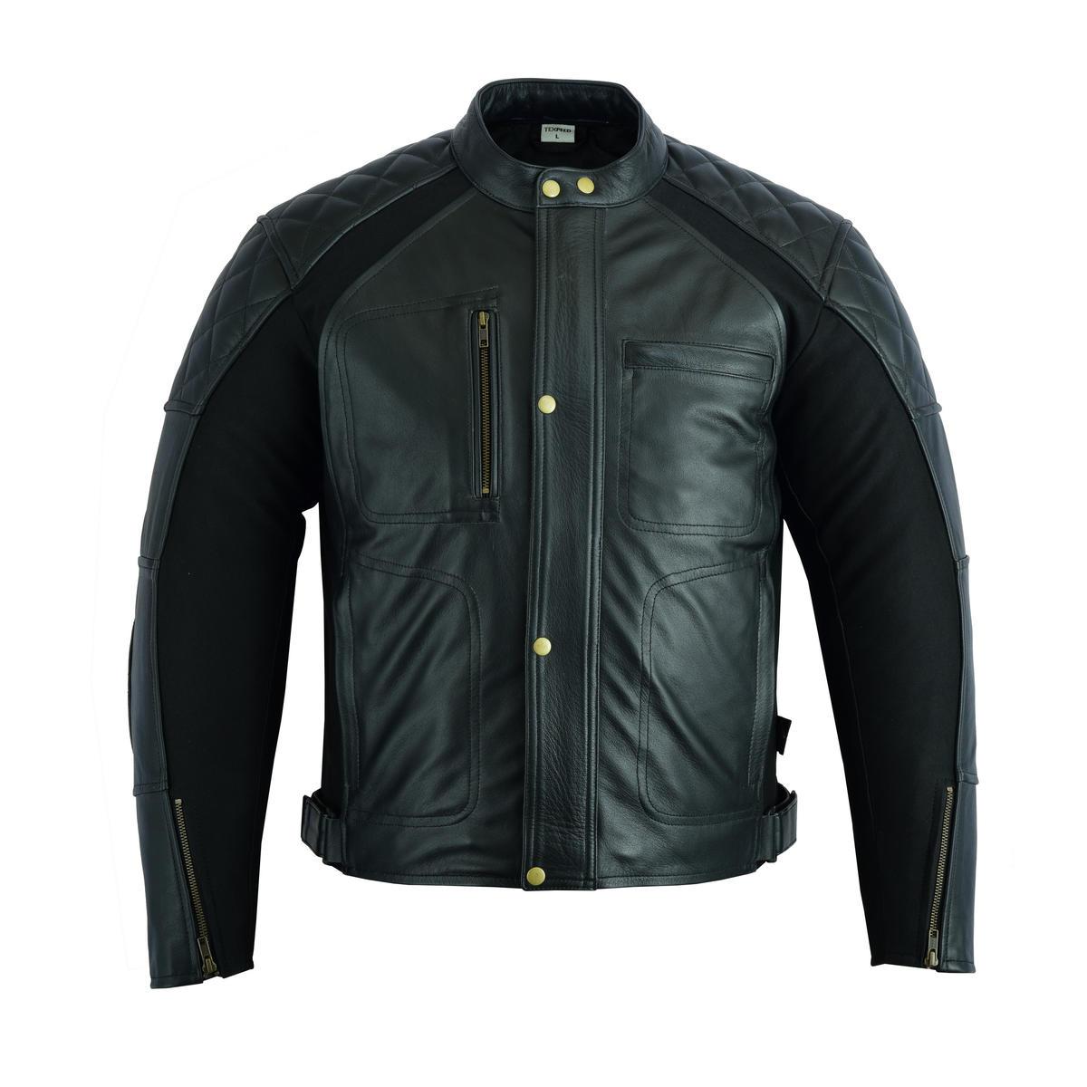 LJ-DIA-STR-BK (Clearance Stretch Arm Leather Jacket)