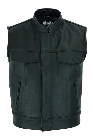 Leather Sons Of Anarchy Style Motorcycle Motorbike Waistcoat SOA Vest Cut Black