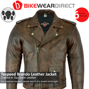 Mens Leather Brando Jacket In Brown