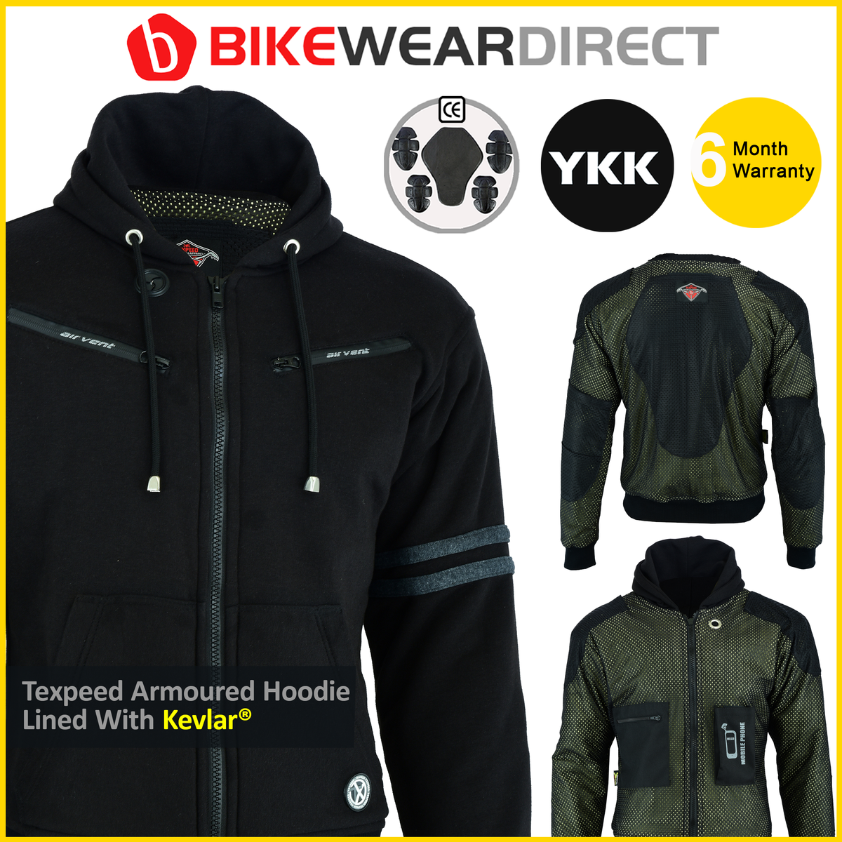 Texpeed Black & Grey Kevlar Lined Hoody