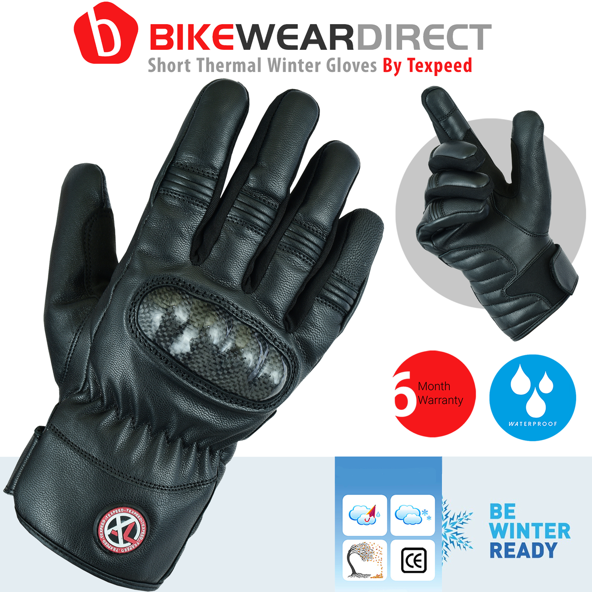 Texpeed Black Leather Protective Hipora Gloves Short