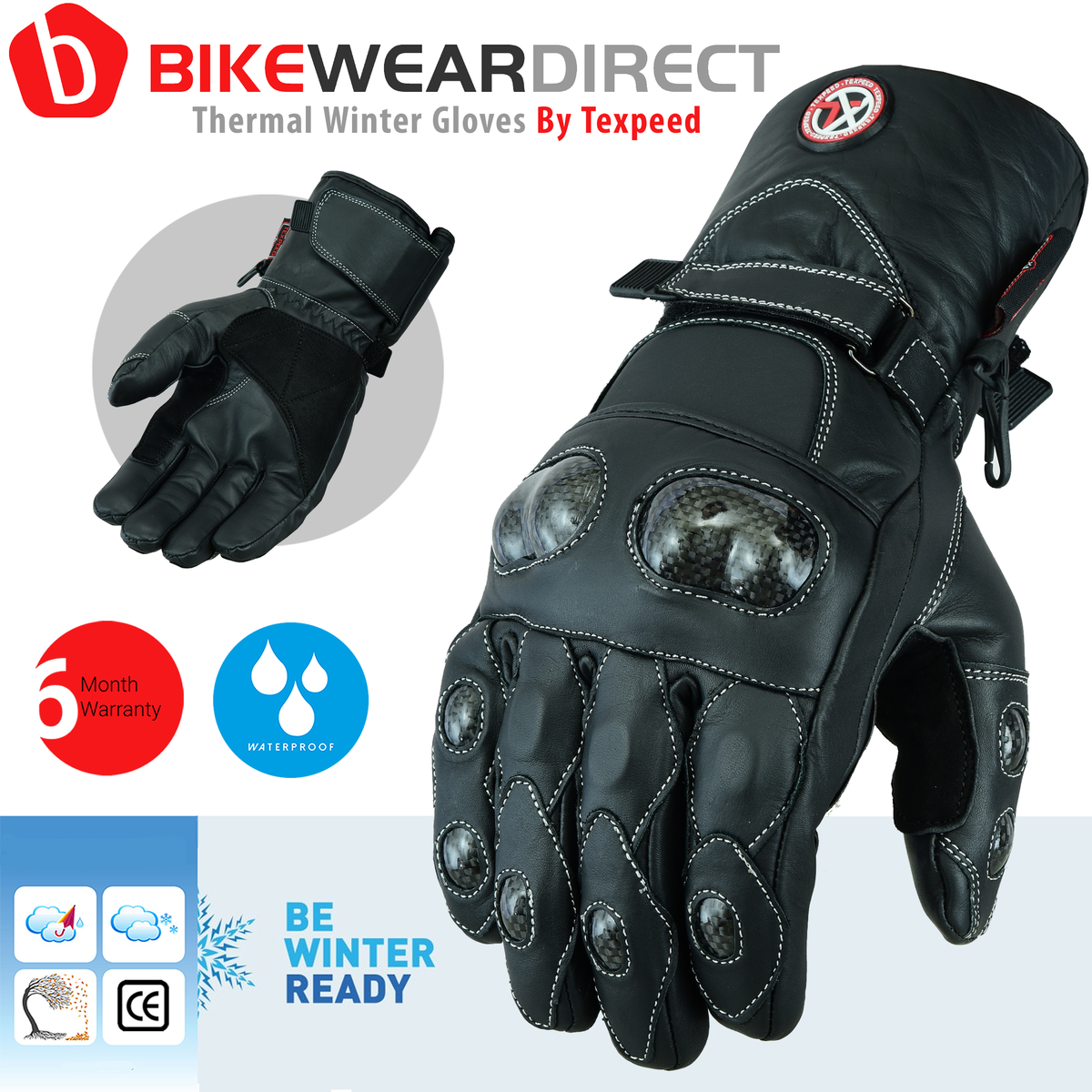 Texpeed Black Leather Protective Hipora Gloves Long