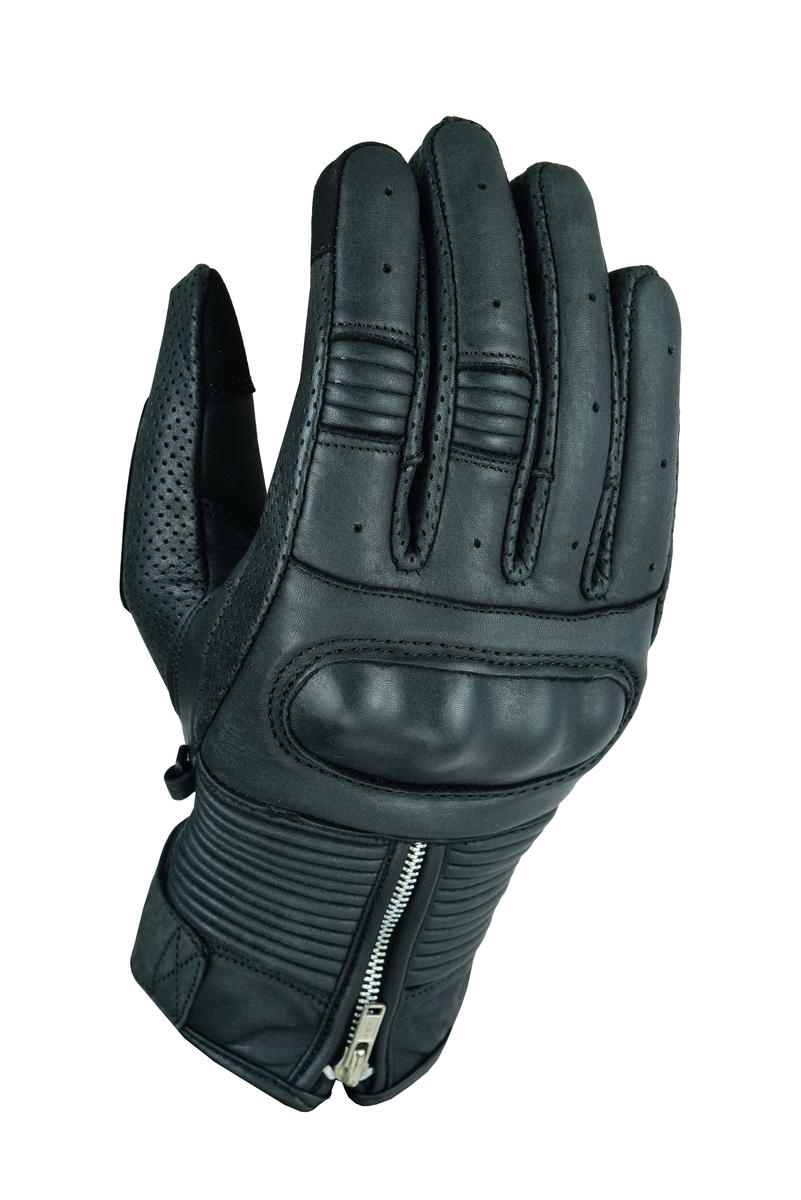 Texpeed Zip Up Black or Brown Leather Casual Biker Gloves