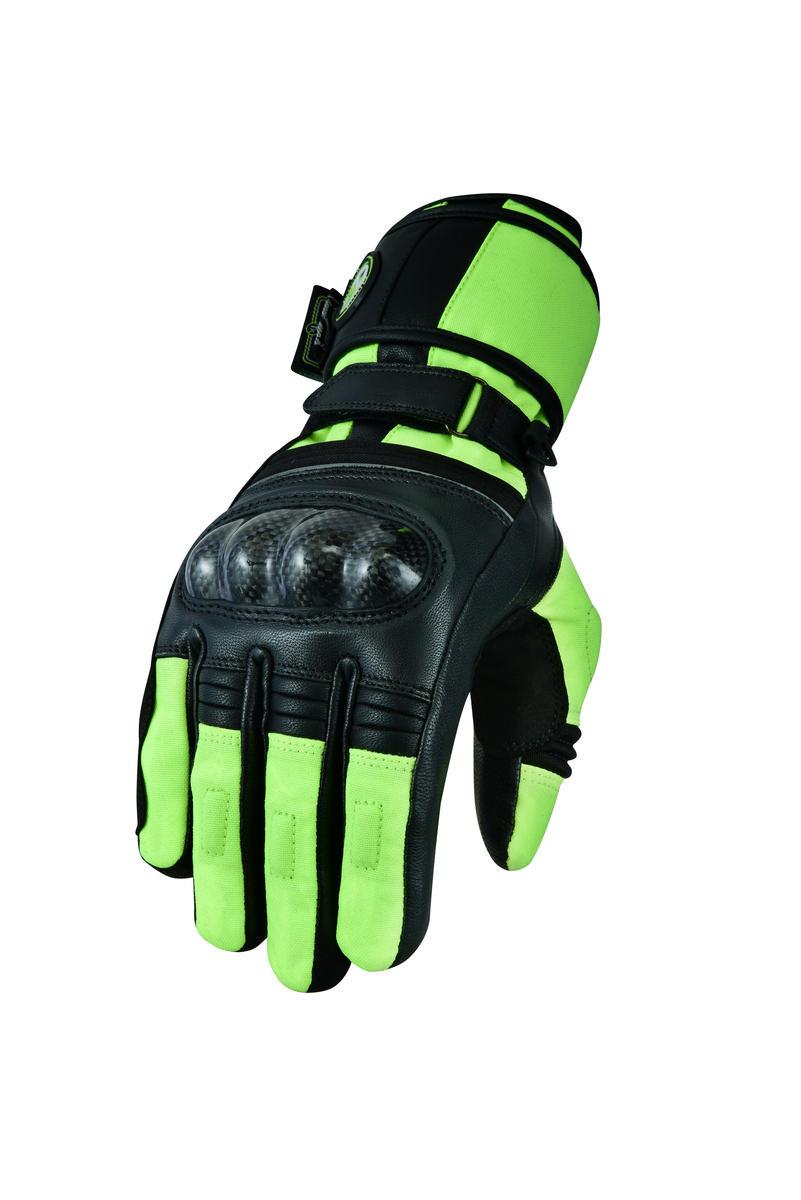 Womens Waterproof Motorbike Motorcycle Gloves Textile Black Hi-Vis Biker City