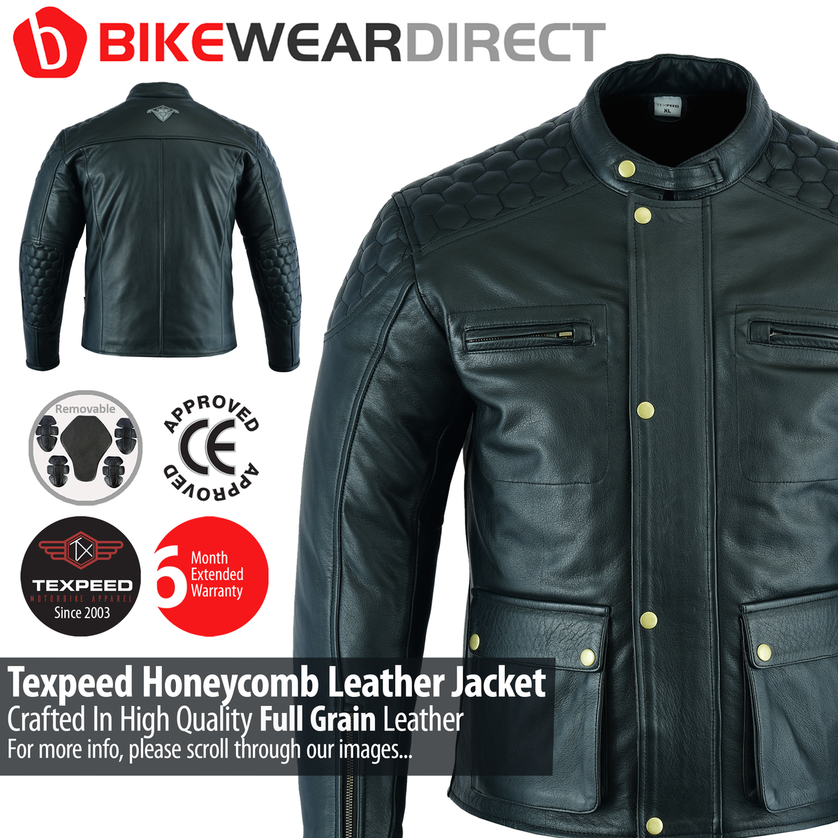 Texpeed Hex20 Stitched Leather Motorbike Jacket