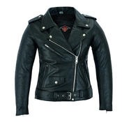 Ladies Marlon Brando Style Leather Motorcycle Jacket