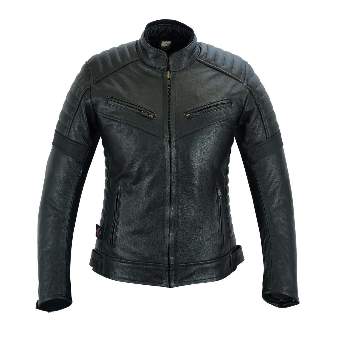 Ladies Black Leather Touring Motorcycle Jacket