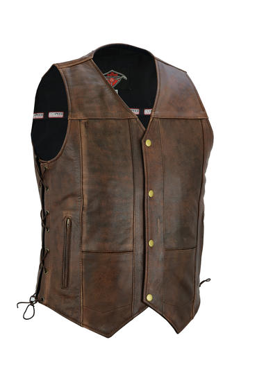 Mens Quality Laced Waistcoat With Snap Button Fastening - In Black / Brown
