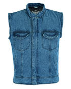 (WC-PLN-DEN) Mens Rustic Denim Waistcoat With Zip Fastening