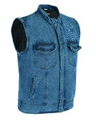 Denim Waistcoat Motorbike Rustic Biker Motorcycle Vest Cut Distressed Club