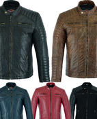 Mens Leather Casual Biker Jacket Coat Soft Motorcycle Genuine Biker Style Fit