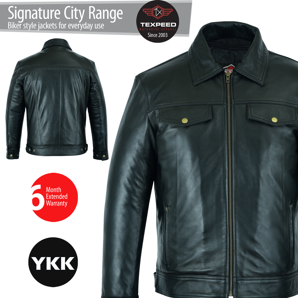 Texpeed Biker Fashion Shirt Jacket - In Black Soft Touch Leather