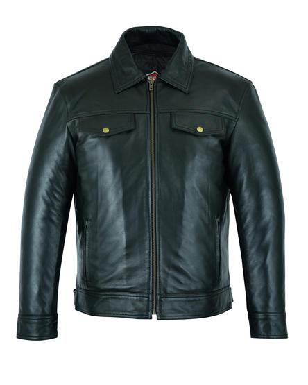 Leather Casual Biker Fashion Shirt Jacket Soft Touch Motorbiker Moto Style