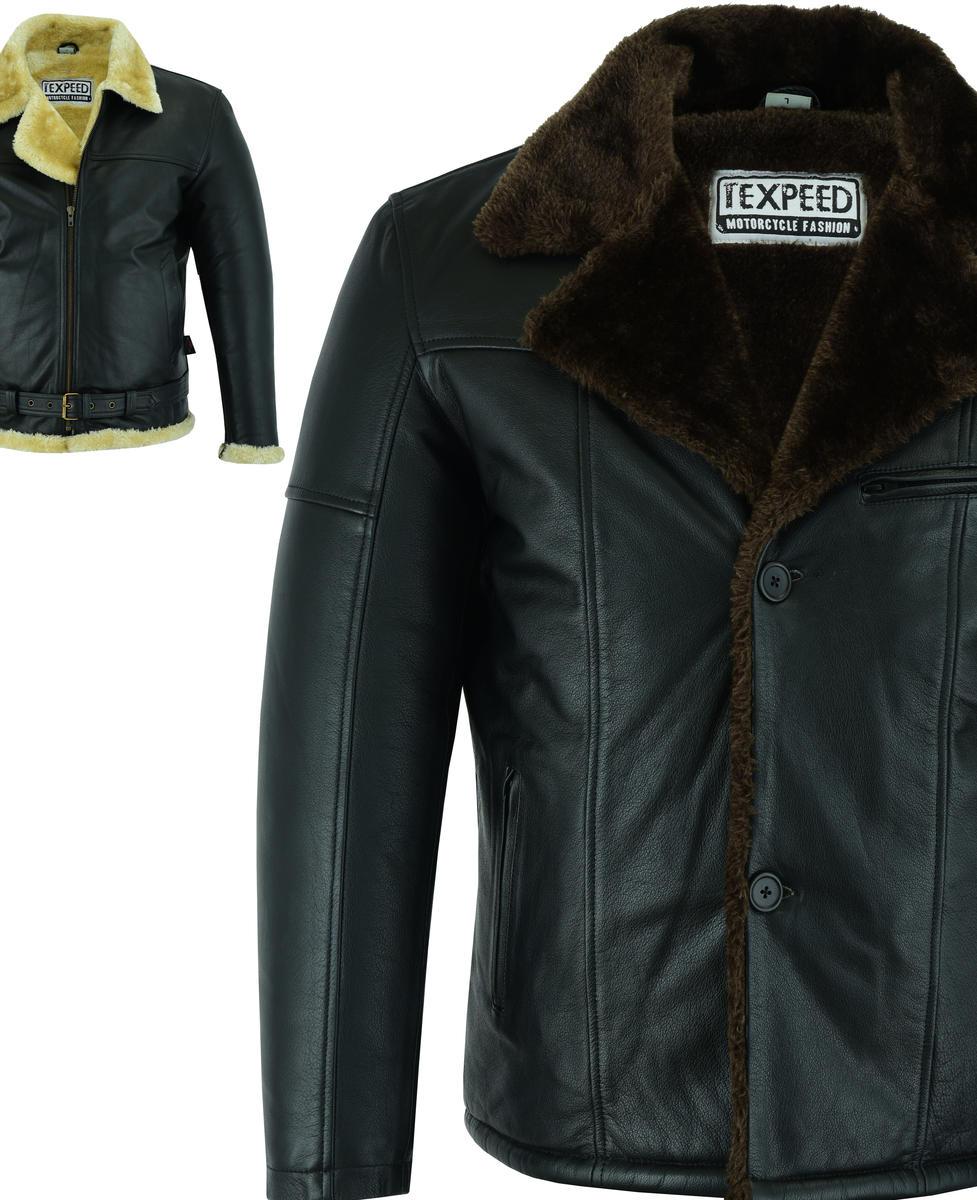 Mens Leather Jacket Fur Coat Genuine RAF Aviator Flight Bomber B3 Pilot Design