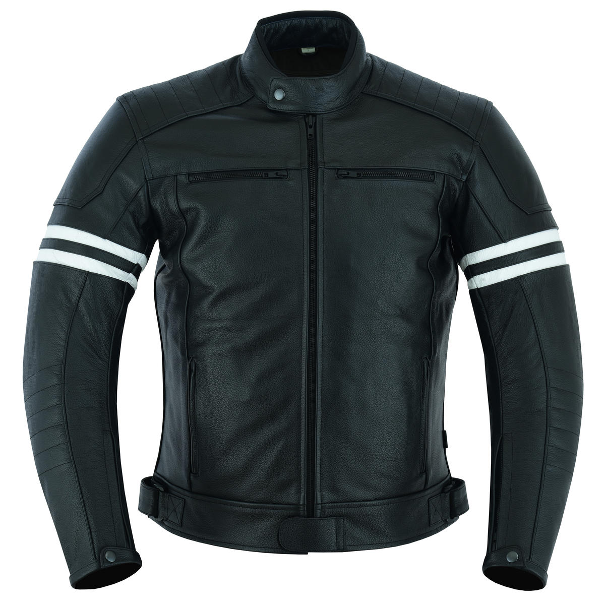 Motorcycle Leather Jacket Touring Motorbike Cafe Biker With Genuine CE Armour