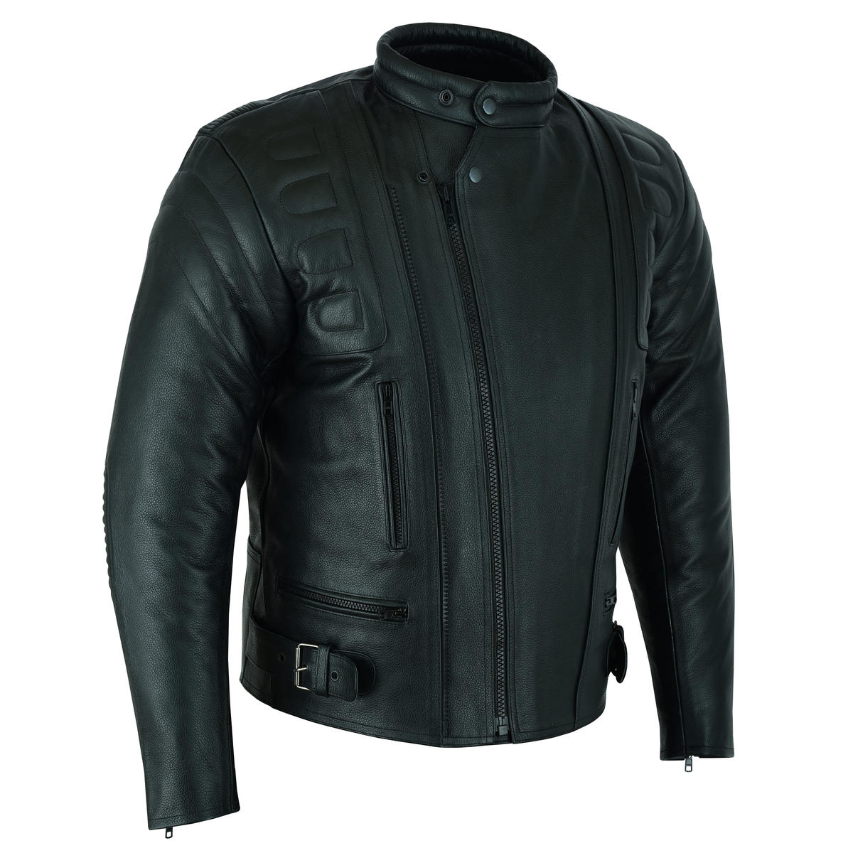 Motorcycle Leather Jacket Biker Motorbike Touring Cruiser With Genuine CE Armour