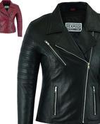 Womens Leather Jacket Coat Motorcycle Brando Style Genuine Ladies Biker Design