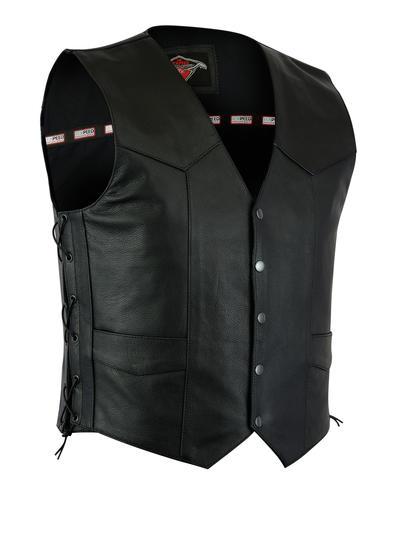 Texpeed Mens Black Leather Classic Waistcoat