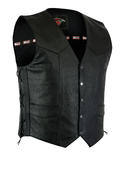 Texpeed Mens Black Leather Classic Waistcoat