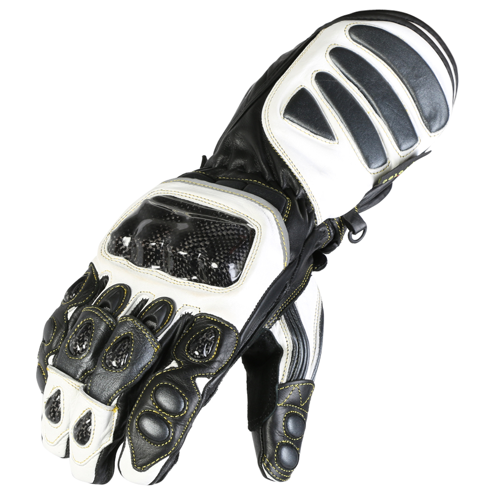 Leather Motorcycle Motorbike Biker Gloves CE Carbon Knuckle Armour Pro Grip