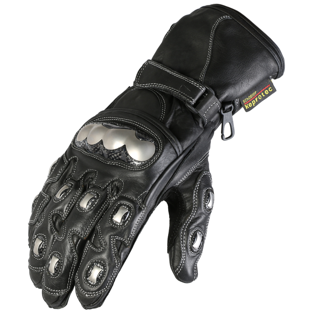 Texpeed Black & Chrome Leather Gloves