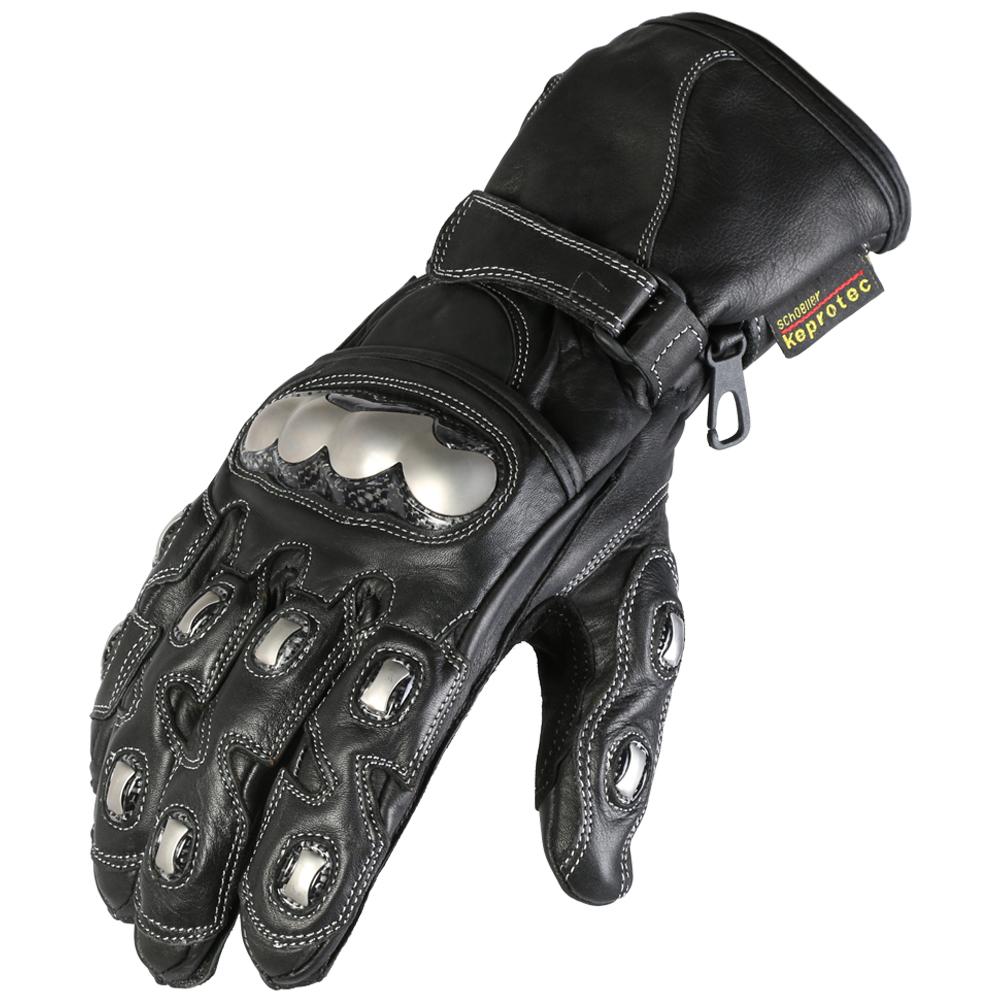 Texpeed Black & Chrome Leather Gloves