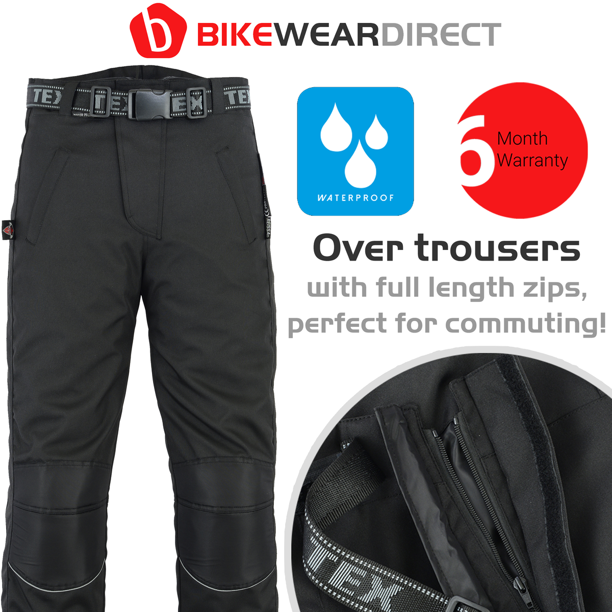 Texpeed Black Waterproof Over Trousers