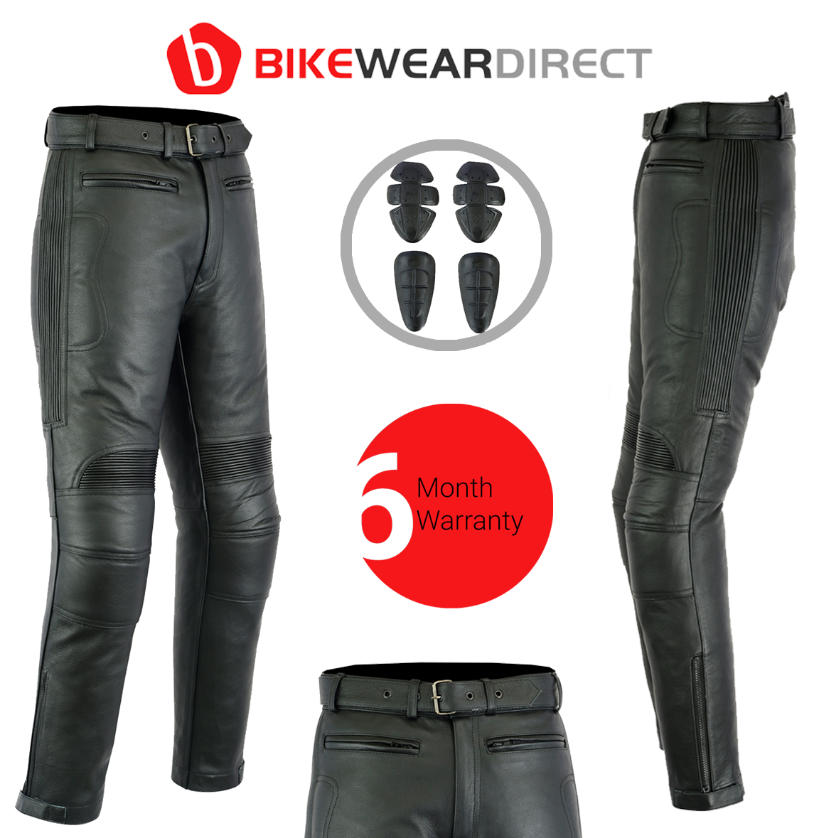 All Black Waterproof Armoured Leather Motorbike Motorcycle Trousers by Texpeed