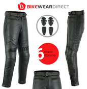 Texpeed Mens Black Leather Touring Jeans