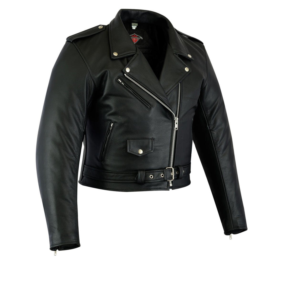 Womens Ladies Leather Marlon Brando Motorcycle Biker Motorbike Jacket Short Crop