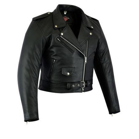 Womens Ladies Leather Marlon Brando Motorcycle Biker Motorbike Jacket Short Crop