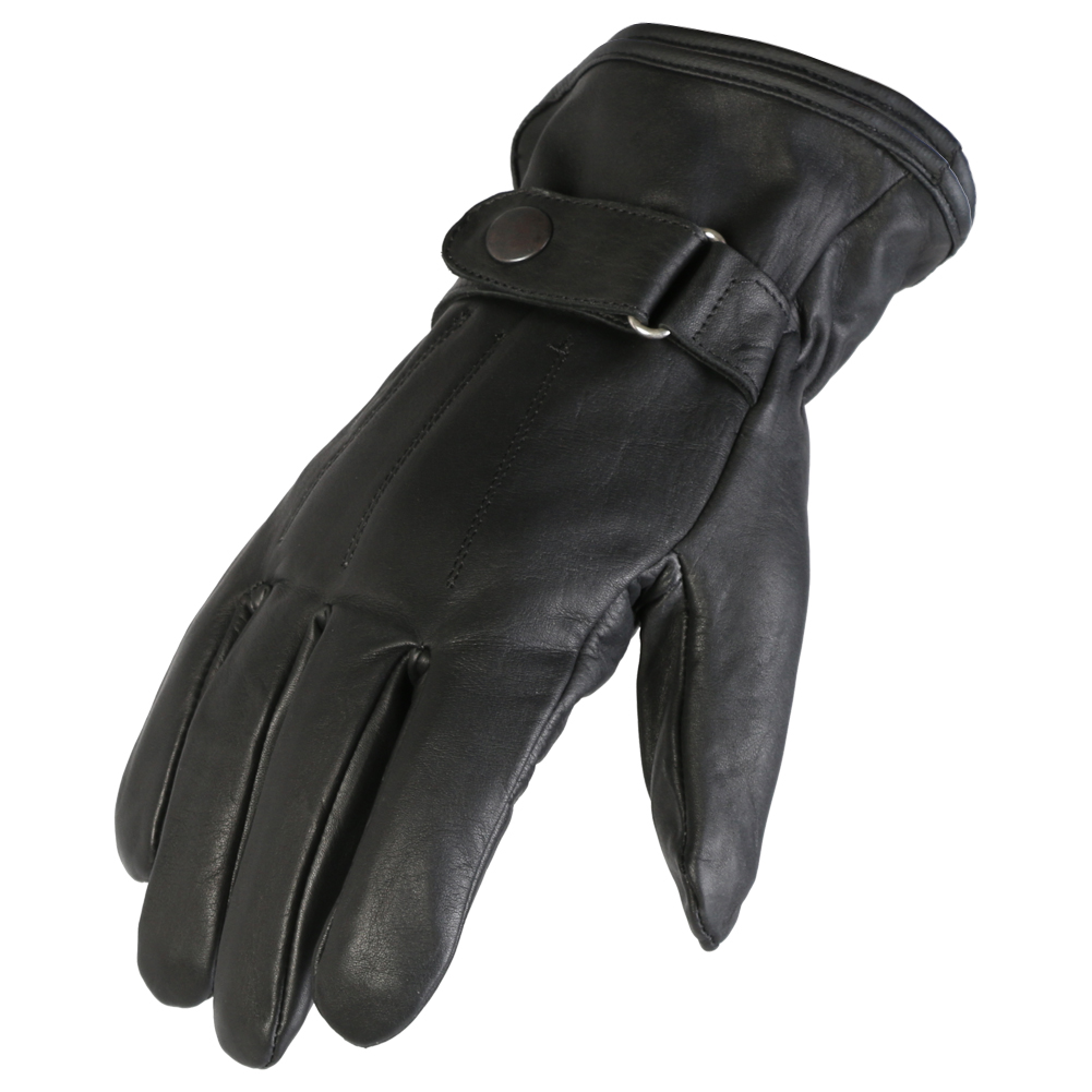 Texpeed Black Soft Leather Fashion / Biker Gloves