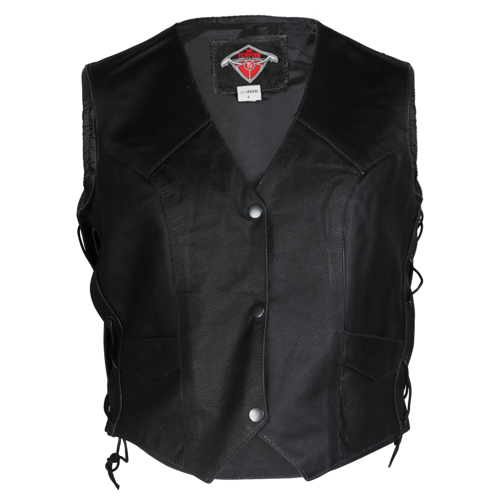Texpeed Womens Cowhide Leather Waistcoat Vest