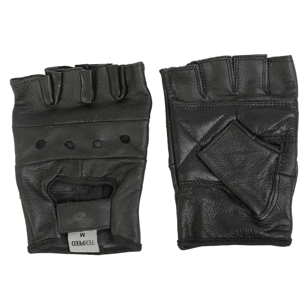 2eb13b832dbc5 Texpeed Black Fingerless Leather Gloves | Mens | Bike Wear Direct