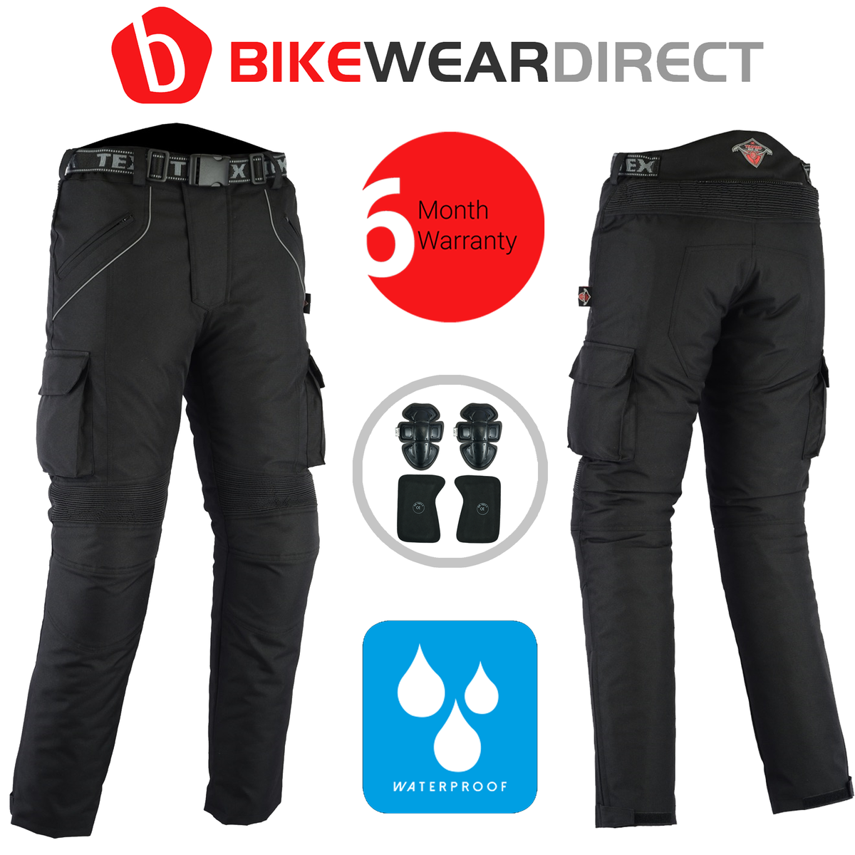 Texpeed Black Waterproof Armoured Trousers