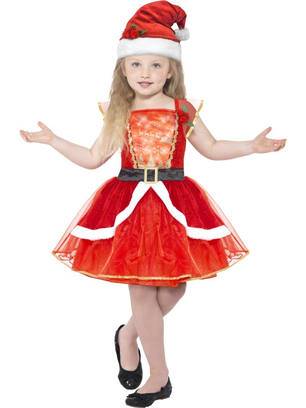 Girl's Miss Santa Fancy Dress Costume