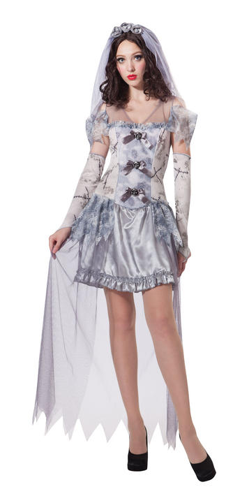 Womens Halloween Ghost Bride Costume Ladies Horror Fancy Dress Outfit Thumbnail 1